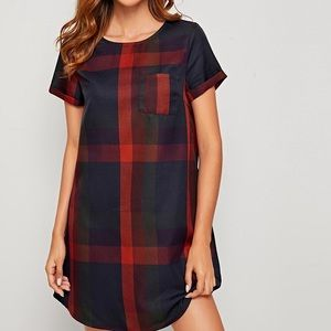 SHEIN plaid curved hem dress, size medium.